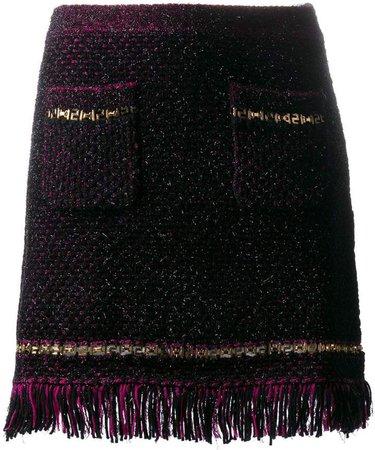 metallic threading fringed woven skirt