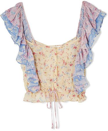 Avery Cropped Ruffled Floral-print Silk-georgette Top - Baby pink