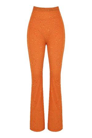 Clothing : Trousers : Mistress Rocks 'Say When' Orange Print Mesh High Waist Trousers