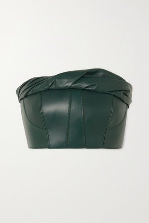 Gathered Leather Bustier Top - Green