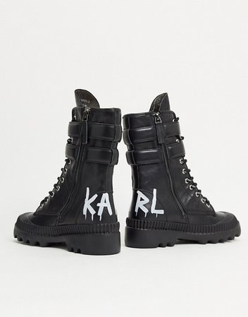 Karl Lagerfeld high cuff buckle chunky boots in black | ASOS