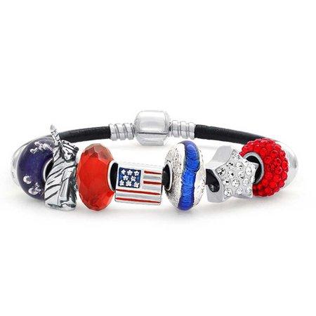Patriotic American USA Flag Star Charm Bracelet Pandora Compatible
