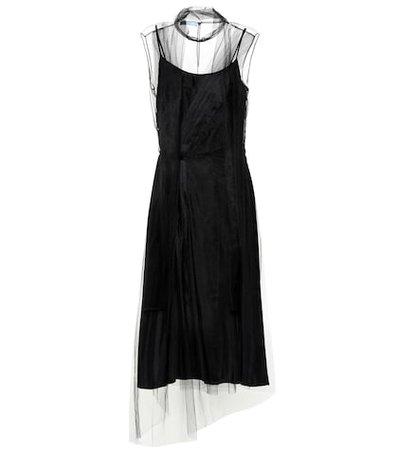 Silk and tulle midi dress