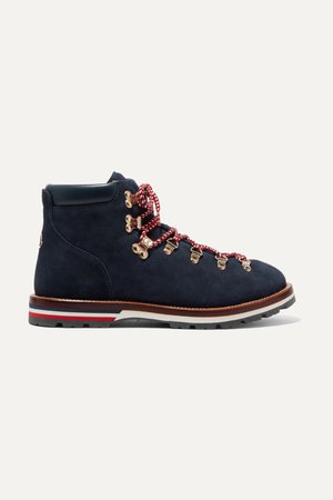 Navy Blanche shearling-lined suede ankle boots | Moncler | NET-A-PORTER