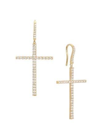 Lana Jewelry Flawless 14K Yellow Gold & Diamond Cross Linear Earrings | SaksFifthAvenue