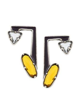 Camila Klein Enamel Earrings 85104 Silver | Farfetch