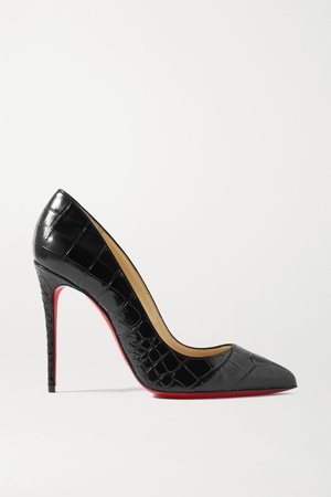 Black Pigalle Follies 100 croc-effect leather pumps | Christian Louboutin | NET-A-PORTER