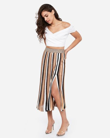 Rocky Barnes Striped Midi Skirt