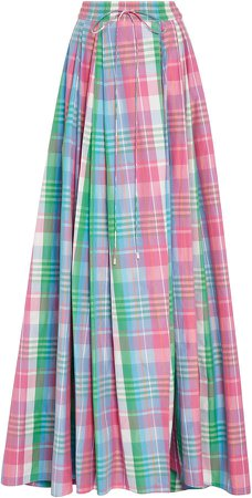 Kimberley Plaid Cotton and Silk-Blend Maxi Skirt