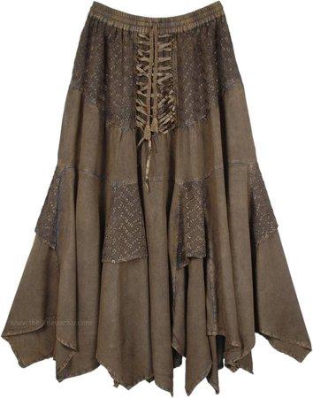 Tobacco Dark Green Middle Age Uneven Hem Skirt   Bronze   Stonewash, Misses, Handkerchief, Solid, Western, Renaissance, Halloween