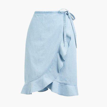 Chambray faux-wrap mini skirt