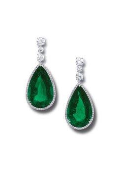 Graff, Emerald pear shape and diamond earrings