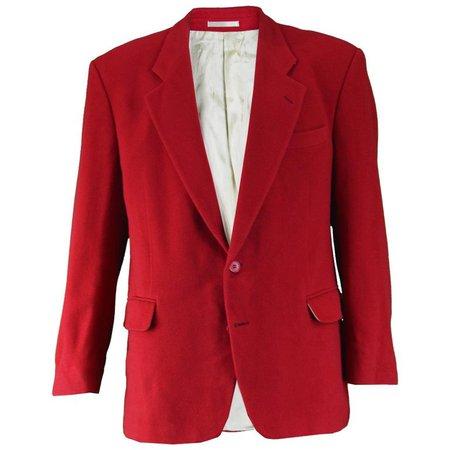 Yves Saint Laurent Men's Vintage Dark Red Wool and Cashmere Blazer, 1980s For Sale at 1stdibs