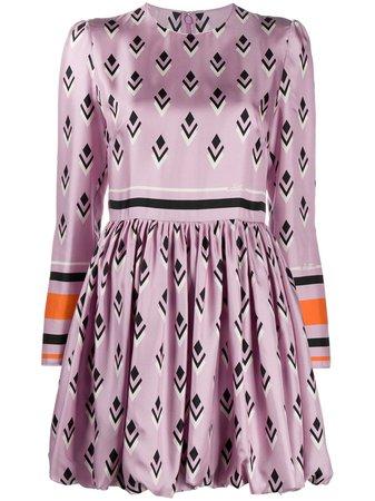 Shop purple & black Valentino Valentino Signature geometric print dress with Express Delivery - Farfetch