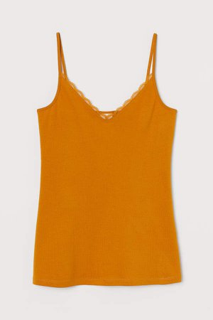 Jersey Lace-detail Camisole - Yellow