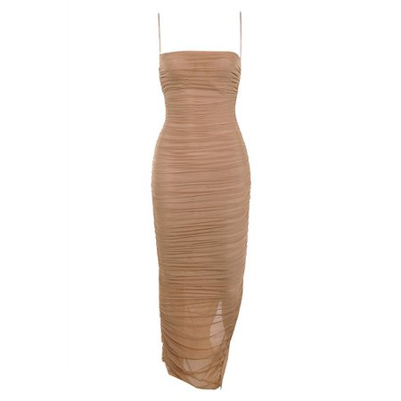 Nude Maxi Mesh Sleeveless Bodycon Dress