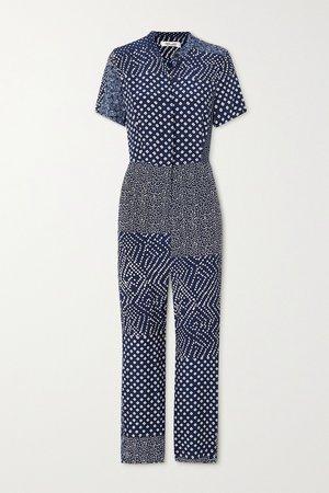 Navy Lucy patchwork printed silk crepe de chine jumpsuit | Diane von Furstenberg | NET-A-PORTER