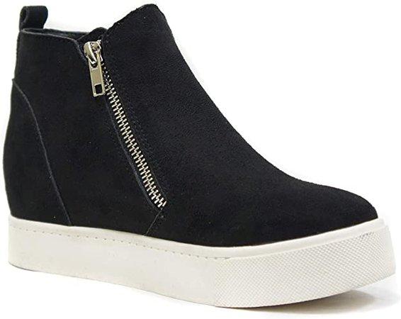 Amazon.com | Soda Taylor Hidden Wedge Sole Booties Ankle Heels Sneaker Shoes Side Zipper (6, Black) | Ankle & Bootie