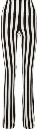 Striped Stretch-jersey Bootcut Pants - Black