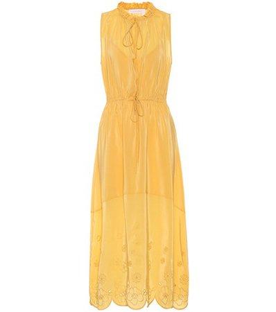 Sleeveless silk-blend dress