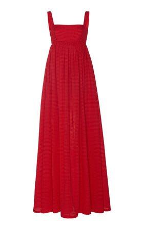 Evelina Shirred Cupro Maxi Dress by Emilia Wickstead   Moda Operandi