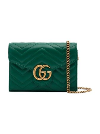 Gucci Green GG Marmont Leather Chain Bag