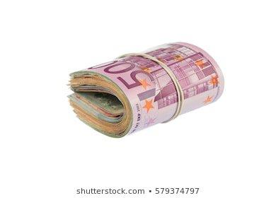 Macro Detail Roll Euro Currency Eur: zdjęcie stockowe (edytuj teraz) 734125387