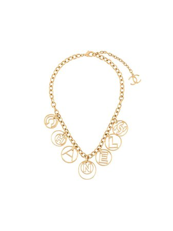 Chanel Pre-Owned 2017 logo charms necklace gold NL024143 - Farfetch