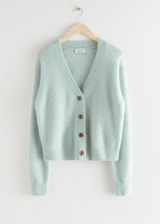 Relaxed Wool Knit Cardigan - Light Green - Cardigans - & Other Stories