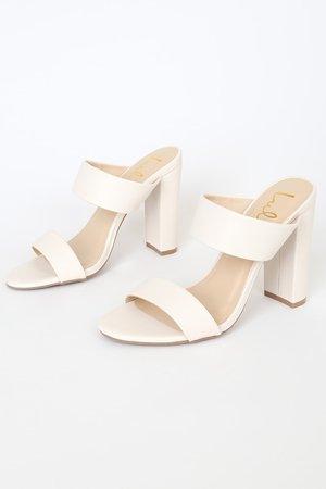 Cute Off White Heels - High Heel Sandals - Dual Strap Heels
