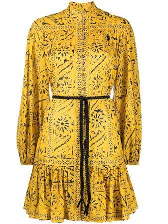 Zimmermann High Neck Floral Print Dress In Yellow | ModeSens