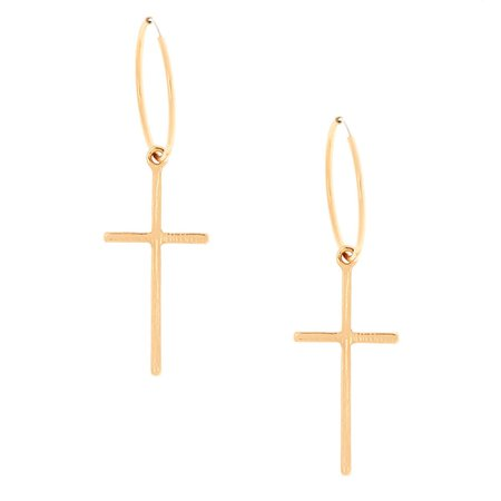 Gold 20MM Cross Hoop Earrings | Claire's US