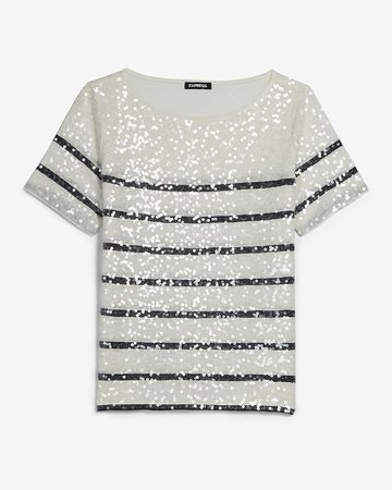 Sequin Striped Crew Neck Skimming Tee | Express