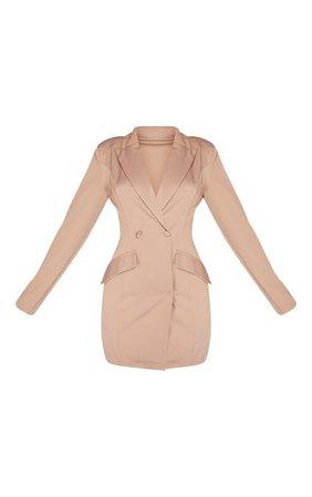 Taupe Pinched Waist Blazer Dress | PrettyLittleThing USA