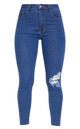 Dark Wash Distressed Knee High Waisted Skinny Jean | PrettyLittleThing