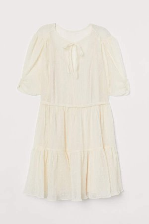 Crinkled Dress - White