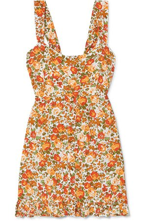 Faithfull The Brand | Lou Lou ruffled floral-print crepe mini dress | NET-A-PORTER.COM