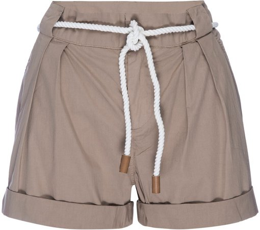 Tie Belt Cuffed Shorts