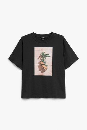 Cotton tee - Peach print - Tops - Monki WW
