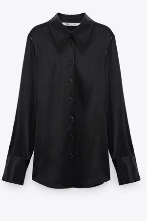 Zara black satin shirt