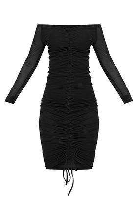 Shape Black Mesh Ruched Bardot Midi Dress | PrettyLittleThing USA