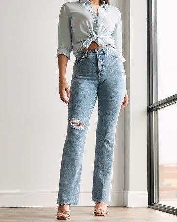 High Waisted Ripped Raw Hem Curvy Bootcut Jeans
