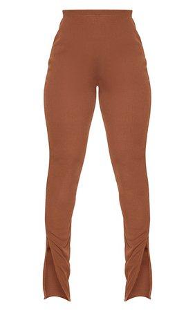 Shape Chocolate Brown Rib High Waist Trousers | PrettyLittleThing USA
