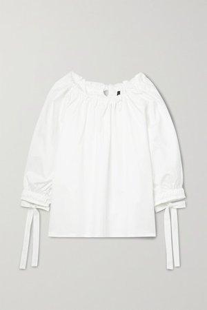 Bobbie Gathered Cotton-blend Twill Blouse - White