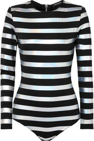 Striped Iridescent Cotton-jersey Bodysuit - Black