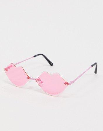 ASOS DESIGN lips sunglasses in hot pink | ASOS
