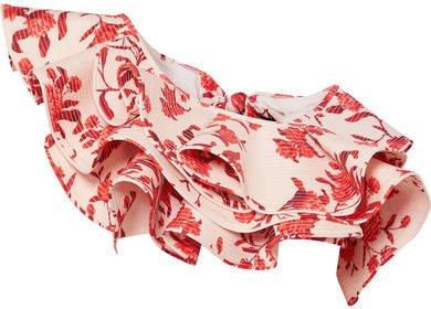 One-shoulder Ruffled Floral-print Bikini Top - Red