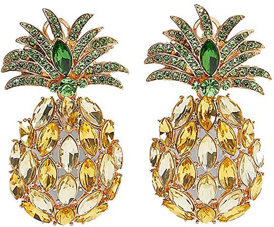 Amazon.com: BEST LADY Cute Fruit Animals Drop Earrings - Statement Colorful Shining Crystal Dangle Earrings for Women Summer Holiday Jewelry (Y Pineapple): Jewelry