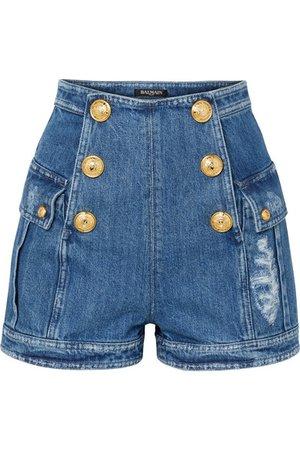 Balmain | Button-embellished distressed denim shorts | NET-A-PORTER.COM