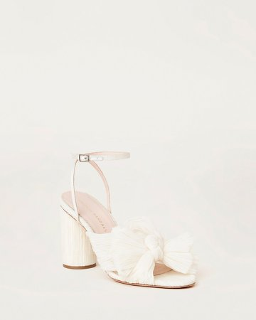 Camellia Bow Heel with Ankle Strap Vegan Pearl
